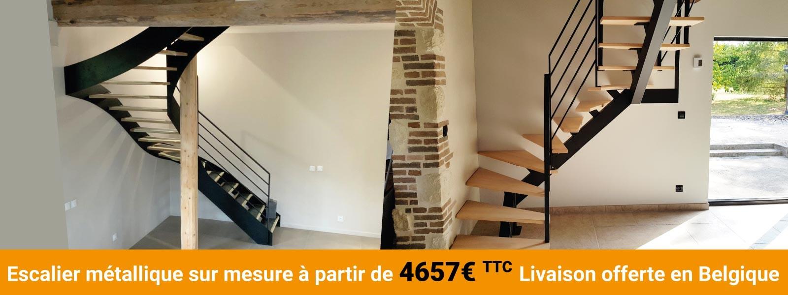 Oéba : escaliers métal sur mesure à installer soir même et vendus en ligne en Belgique